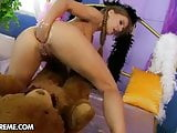 Kinky girl Nikky fucks her ass with fist and rides bear