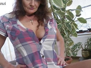 Getting breast augmentation - Big breasted granny getting wet and wild