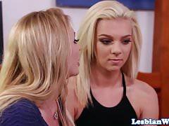 Busty lesbian babe scissored by stepmom dyke