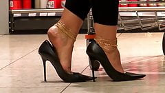 Walking with stilettos full of cum
