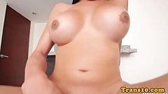 Bigtitted latina tgirl tugging cock