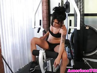 Fit transbabe works out before jerking cock
