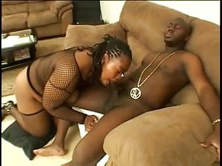 Chunky black in fishnets blows for a load