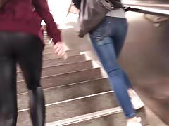 teen walking in leather leggings