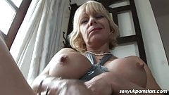 British Milf Jane Bond frigs her fanny in the study