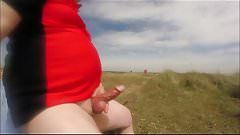 Public wanking on the beach
