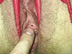 Piss hole and pussy spreader with gates of hell