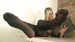 Blonde Secretary in pantyhose puts you under her desk