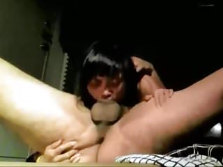 Asian girl gives a blowjob with forcing deepthroat  edit