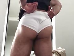 Hunky Hairy Daddy feels up his hot hairy ass