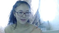 Cute hairy Korean chick dancing around naked on webcam