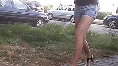 Spying, small, young hotpants teens in public
