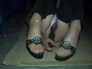 crossdresser night with pink toe nails and cucumber 1