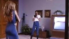 Lesbian stripper seduces client