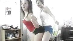 two girlfriends  ass-shake