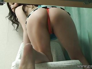 Japanese Upskirt Wedgie from Under Desk