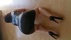 Leather tight dress and hot high heels