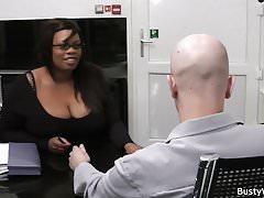 Ebony plumper sucks and rides cock for job's Thumb