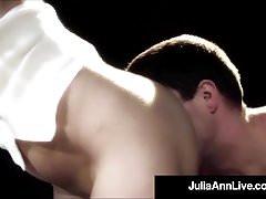 Elegant Mommy Julia Ann Smokes & Fucks A Big Cock On Stage!