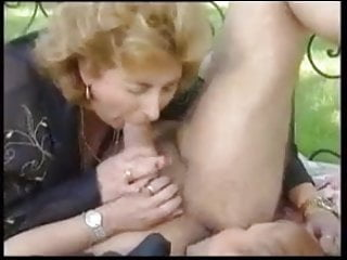 2 matures Fuck An man On A Bed In The Yard