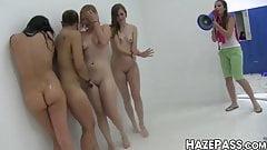 Kinky schoolgirl sprays babes before sorority hazing
