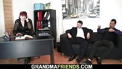 Sexy office mature in stockings riding and sucking