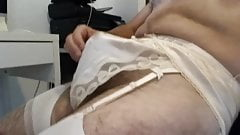 cd in lingerie silk panty and stockings jerk and cum