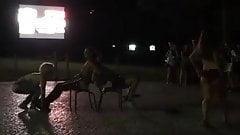 Striptease in AAC Bar garden in Coimbra.