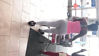Wal Mart VPL white leggings black panties