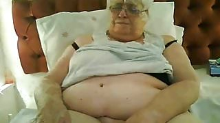 Super-sized 80y.o. British granny in black lingerie