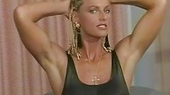 Muscular blondes oiling and posing