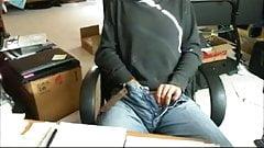 Stroking my big cock to orgasm again