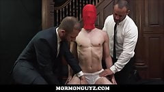 Young Mormon Boy Masked Fucked By Two Elders of The Church