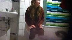 Girl on Toilet with Big Pussy Lips at House Party