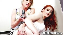 Redhead tgirl Rachael Belle disciplined by busty MILF toys