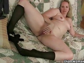 Pantyhose ignite mom's lust for solo sex