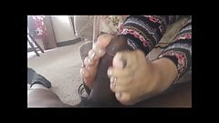60 years old granny feet making cum bbc