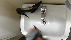 Cum in co-workers Nine West stiletto heel