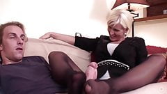 Hot milf black stockings footjob
