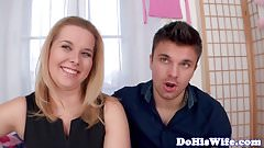 Busty milf cuckolds her hubby on the couch