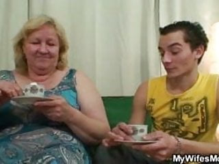Horny granny seduces her son in law while his wife not home