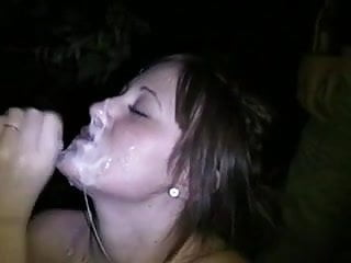 Young dogging wife gets a lot of sperm on her face