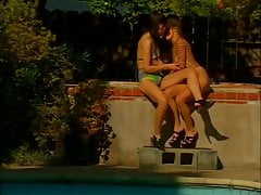 Girls Have Fun By The Pool