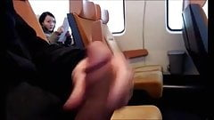 Jerking off for Asian on train
