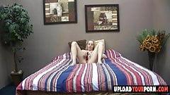 Teen blonde masturbates on bed