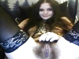 a hairy 18 year old girl with creamy pussy on webcam