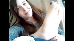 Teen girl feet show and toe suck on webcam