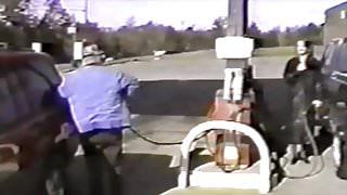 Trina flashes at public gas petrol station
