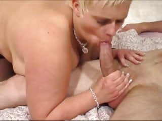 Blonde British BBW sucking and fucking hard cock