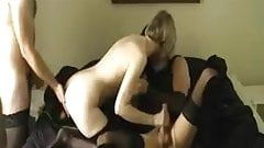 Amateur - CD MMF Threesome - all wearing Stockings